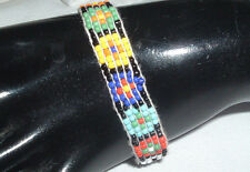 Vintage Hobie Multi Color Glass Seed Bead Flower Design Bracelet In Gift Box