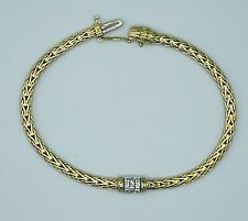 John Hardy Classic 3.5mm 18K Yellow Gold Chain Diamond Bracelet