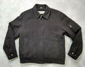 Columbia Men's Bomber Jacket Full Zip Brown Wool Blend Insulated Size Medium