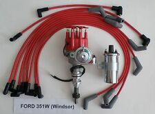 FORD 351W (Windsor) RED Small Cap HEI Distributor +Chrome Coil +SPARK PLUG WIRES