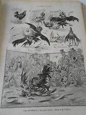 Gravure 1899  Les Combats de Coqs