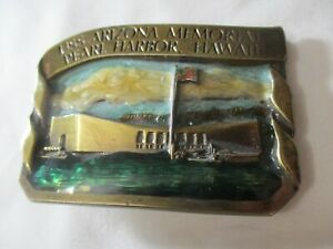 Bergamot Brass Works 1985 USS Arizona Memorial Pearl Harbor HI Belt Buckle WWII