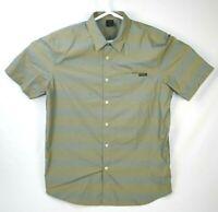Oakley Black Button Up Short Sleeve Green Striped Men's Size Large
