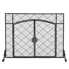 Single Panel Iron Hearth Fire Fireplace Screen Door Spark Guard W/ Locking Door