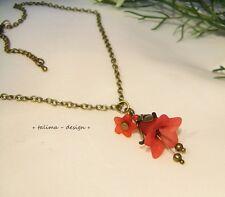 Kette Bronze *Rote Blüte * Blumenkette  Frühling  **handgemacht**