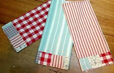 3 Teatowel Towels Red Gingham White Blue Patchwork