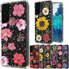 For Motorola Moto E (2020) Floral Glitter Design Hybrid Case Cover+TemperedGlass