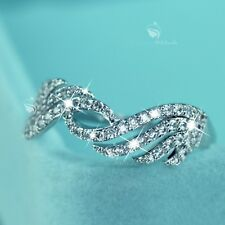 18K White Gold GF women's wedding Ring Simulated Diamond twist wings