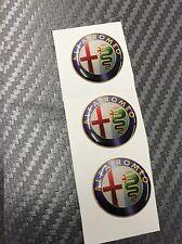 3 Adesivi Stickers ALFA ROMEO Old Color 10 mm 3D resinati telecomandoChiavi