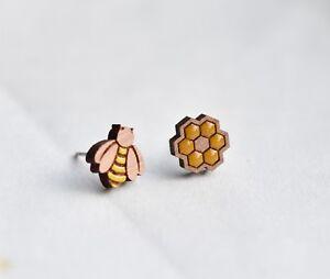 Wood bee hive earrings handmade painted stud earrings gift girls womens