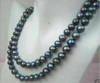 "Natural Aa+ 8-9mm Tahitian Black Pearl Necklace 35"""