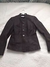 City DNKY Women's 4 Suede Leather Button Up Jacket