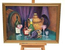Original Oil Painting On Board Still Life Fruit Wine On Table Signed Gatward