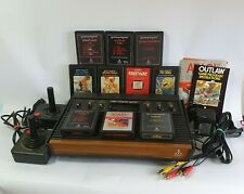 Atari 2600 Woody Console AV Mod w/2 Controllers, Cables & Games Bundle TESTED