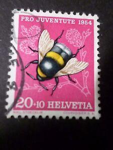 SUISSE - 1954, timbre 555, PAPILLON INSECTE, BOURDON TERRESTRE, oblitéré