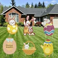 Easter Yard Sign Decoration Outdoor, Large Easter Eggs, Bunny, Chicken Yellow