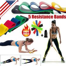 Resistance Bands Loop Set of 5 Exercise Workout CrossFit Fitness Yoga GYM Aerobi