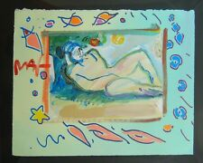 Peter Max Lady Laying Under Tree Original Mixed Media Painting Art SIGNED w COA
