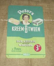 New PETERS KREEM-B-TWEEN ICE CREAM TIN SIGN vintage old style Australian retro