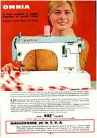 """Publicité Ancienne """" Machine à coudre L'Omnia Familiale """" 1968  (BAC )"""