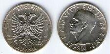 ALBANIA 5 LEK1939 VITTORIO EMANUELE III ARGENTO 835/1000