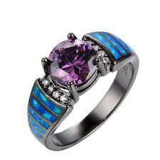 Black Gold Round Cut Purple Amethyst Blue Fire Opal Ring Wedding Women's Jewelry