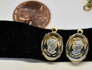 VINTAGE CRYSTAL CLEAR CAMEO 2 OVAL PENDANTS in BRASS • 10x14mm • CUT EDGES * L&R