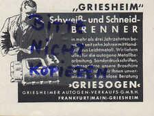 GRIESHEIM, Werbung 1939, Autogen Verkaufs GmbH Griesogen Schweiß-Schneid-Brenner