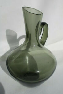 Stylish Hand Blown Green Grey Glass Oil or Dressing Decanter