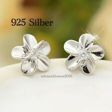 925 Silber-Ohrstecker Blume mit klaren Zirkonia Stein - Ohrringe, Creolen,