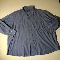 Wrangler Blue Stripe Pearl Snap Button Down Long Sleeve Shirt - Measures 4XL