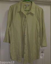 Norton McNaughton NWT Womens Linen Green Button Down Shirt Top Blouse Size XL