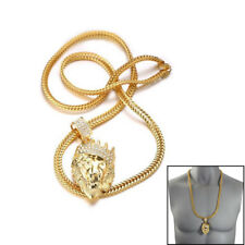 18k Gold Plated Men's Hip Hop Crown Lion Head Pendant Necklace +Shar Tail Chain