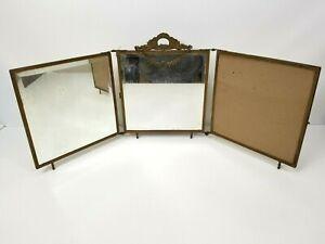 Antique Victorian Wall Hanging Tri-Fold Three Panel Dresser Beveled Mirror