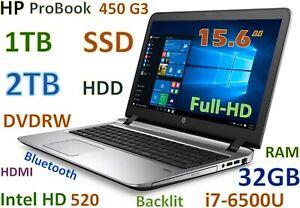 "HP ProBook 450 G3 i7-6500U (1TB SSD + 2TB HDD) DVDRW 32GB 15.6"" FHD HDMI Backlit"