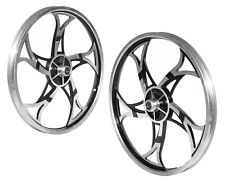 "Brand New BMX 20"" Full Aluminium Front & Rear Wheel Set - Sliver Black"