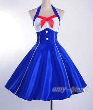 50s 60s Vintage Dress Blue Sailor Costume Pinup Size S-6xl Clubwear AF 3298 M
