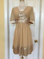 GRIFFLIN PARIS silk beaded dress size L