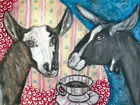 SABLE Drinking Coffee Dairy Goat Art 8 x 10 Print Signed by Artist KSams Farm
