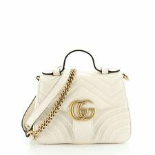 Gucci GG Marmont Top Handle Flap Bag Matelasse Leather Mini
