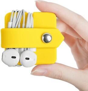 New ELFRHINO Silicone Earphone Wrap Winder HEADPHONE CORD ORGANIZER YELLOW
