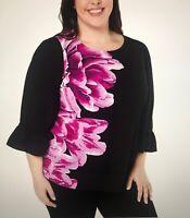 NWT Alfani Women's Black/Fuchsia Floral 3/4 Pintuck Bell Sleeve Top Plus Size 2X