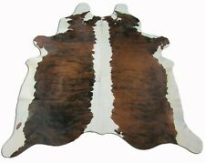 Brindle Cowhide Rugs ~7'x7' ft Brazilian White Belly Cow Hide Rug