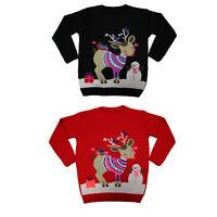 Women`s ladies Novelty 3D snowy animal Print Christmas jumper Sweater Vintage UK