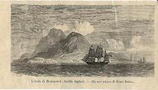 Stampa antica MONTSERRAT isola Antille Caraibi 1895 Old antique print