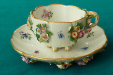 Superb Meissen Encrusted Flowers & Painted Bugs Cup & Saucer