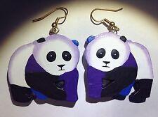 Panda Bear Earrings Earring Animal 3d Jewelry Hand Painted Vintage Vtg Pierced