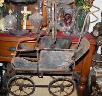 Antique Victorian Metal Frame Baby Doll Carriage Buggy Country Farm Decor