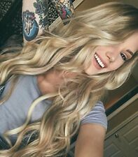 """24"""" Long Light Blonde Brown Roots Women Hair Wig Heat Resistant Front Lace Wigs"""