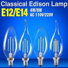 E12 E14 Retro Candle Flame Lamp 4W 8W Edison Bulbs Filament LED 110V/220V Lights